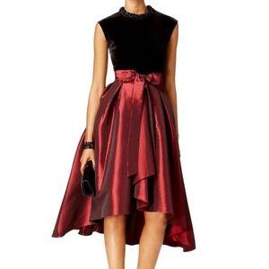SL FASHION VELVET TAFFETA FIT FLARE BLACKRED DRESS